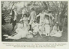 "Back row: Miss Agnes Hayward, Miss Bradshaw, Mrs. Babcock, Mrs. Colville, Mrs. Chater, Miss Rendell; Front row: Miss Doyle, Miss Ayre (Cupid), Mrs. H. Outerbridge, Miss Job and Miss Flora Clift (reclining) in ""On Zephyr's Wings"", 1915"